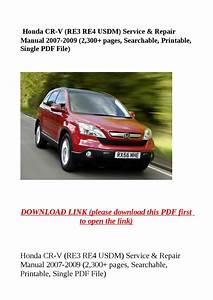 Honda Cr V  Re3 Re4 Usdm  Service  U0026 Repair Manual 2007