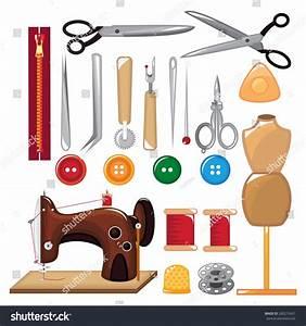 Set Sewing Tools Equipment Stock Vector 260215421 ...