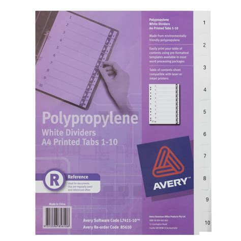 avery polypropylene a4 printed tabs dividers 1 10 white