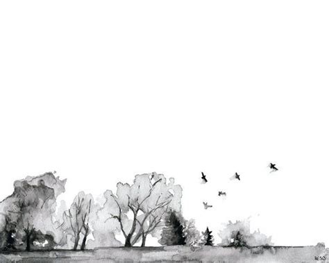 Abstract Black And White Watercolor Painting by Tree Line Painting Print From Original Watercolor