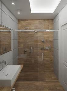 carrelage salle de bain imitation bois 34 idees modernes With porte de douche coulissante avec carrelage turquoise salle de bain