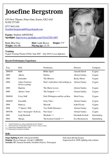 Acting Resume Template No Experience Http Www Pin By Resumejob On Resume Acting Resume