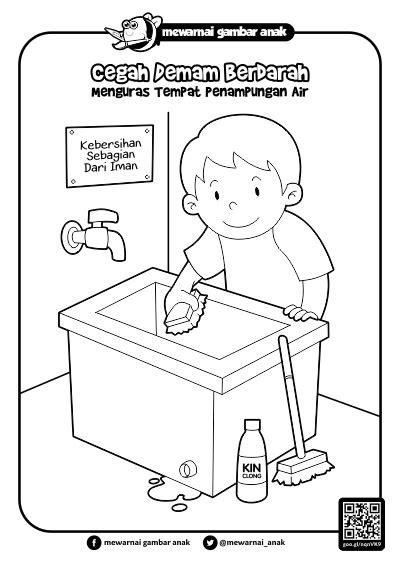 gambar mewarnai gambar anak 3m menguras penungan air