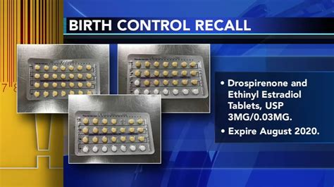 drospirenone ethinyl estradiol birth control pills recalled