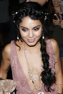 Vanessa Hudgens Wavy Black Braid, Crown Braid Hairstyle ...