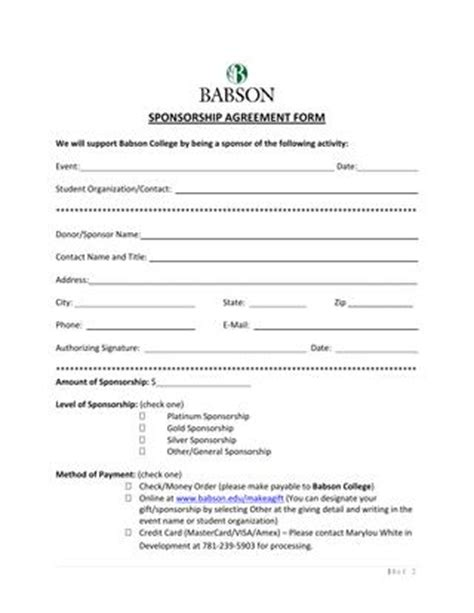 basic sponsorship agreement form  chuck issuu