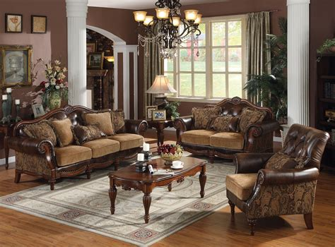 dreena traditional formal living room set carved cherry