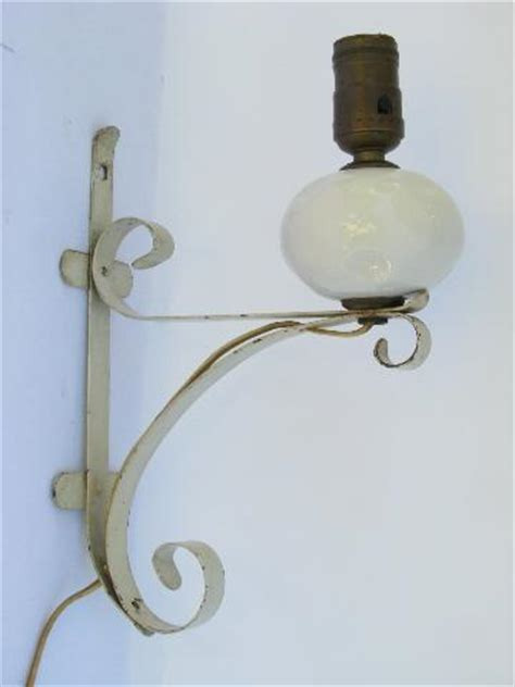 shabby cottage chic vintage white wrought iron wall sconce