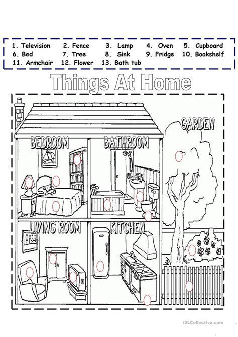 things at home worksheet free esl printable worksheets