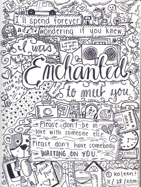 Coloring Lyrics by Image About Enchanted In Quotes By Georginaharding