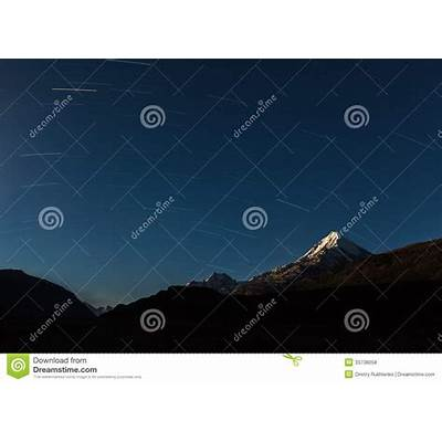 Star Trails Above Himalayas Mountains. Royalty Free Stock