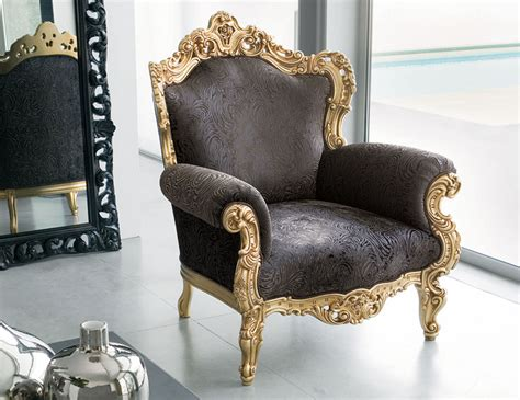 Nella Vetrina Aura Aur01 Italian Baroque Gold Leaf Arm Chair