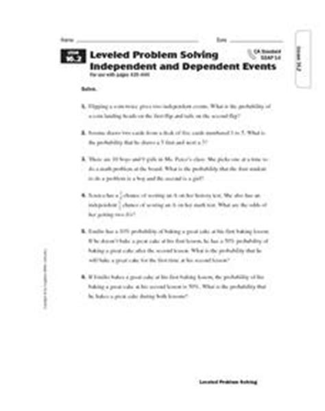 leveled problem solving independent and dependent events