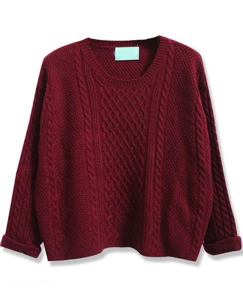 wine sweater wine batwing sleeve cable knit sweater shein