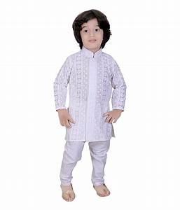 Mint White Cotton Boys Kurta Pajama Suit Best Deals With