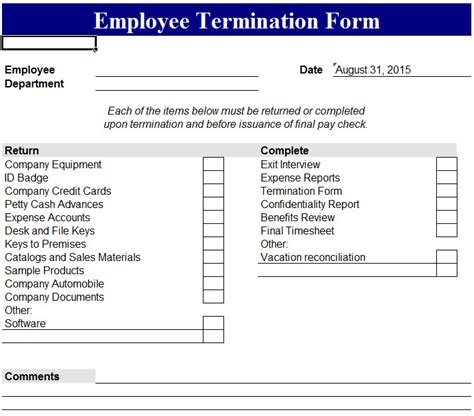 employee termination form  excel templates