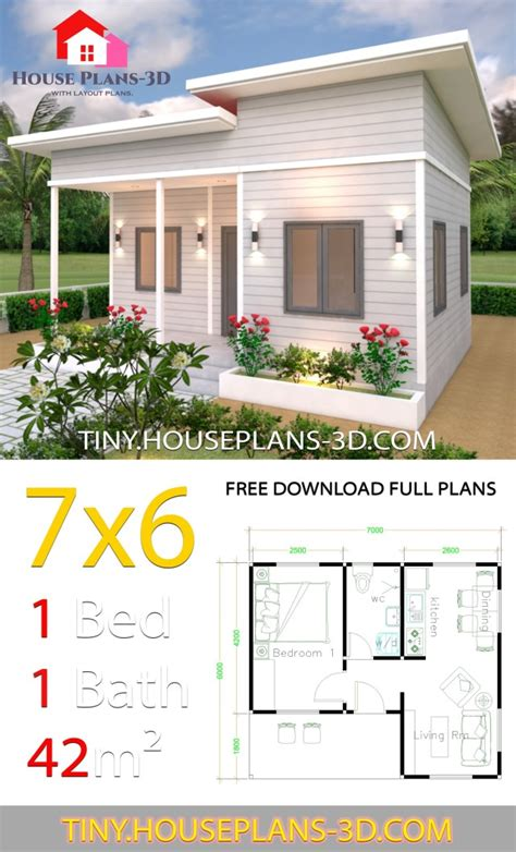 Tiny House Plans 7x6 with One Bedroom Shed Roof Tiny