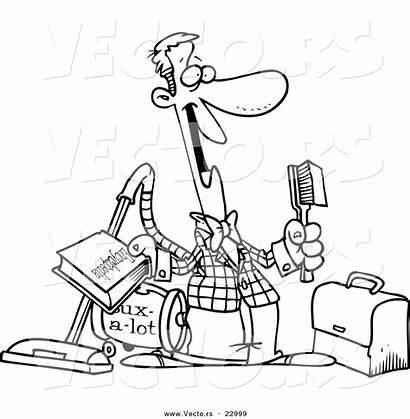 Salesman Cartoon Coloring Outline Toonaday