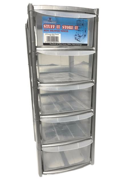 Plastic Drawers by 5 Drawer Silver Tower Unit Plastic Drawers Storage