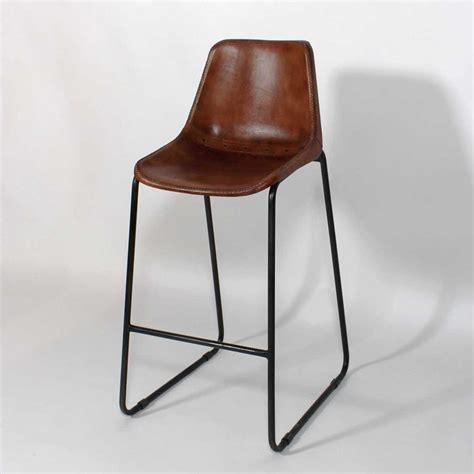 chaise h et h chaise de bar industrielle cuir et métal dublin marron