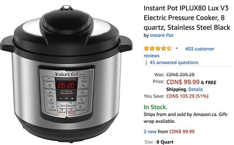 canada amazon pot instant pressure cooker electric deals stainless steel quartz save canadian coupons include awesome