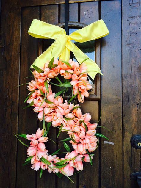 floral tulip monogram letter initial wedding door wreath  images wedding door
