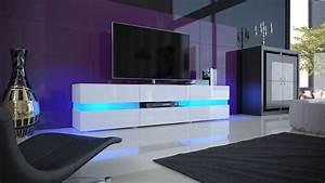 Tele 190 Cm : meuble tv blanc laqu avec led pour meubles tv design a 435 21 ~ Teatrodelosmanantiales.com Idées de Décoration