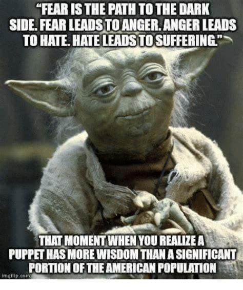 Fear Meme - fear is the path to the dark side fear leads toangeranger leads to hate hate leads to suffering