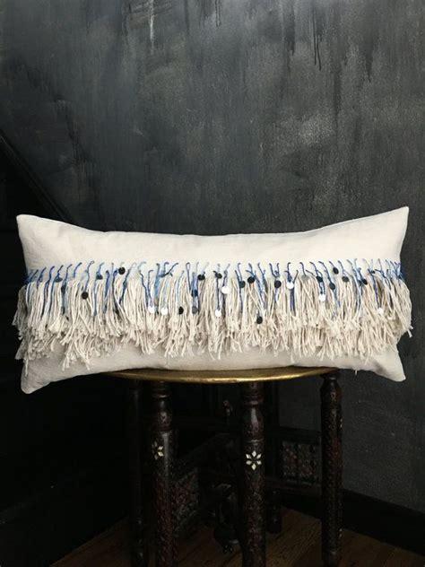 blue ombre moroccan inspired tassel fringe pillow indigo