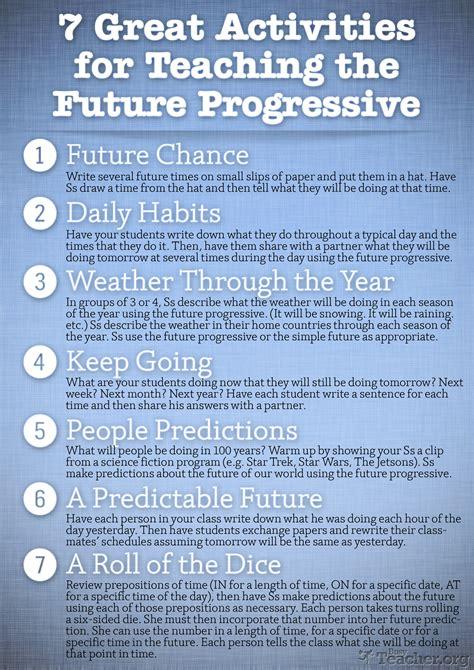 great activities  teach  future progressive poster