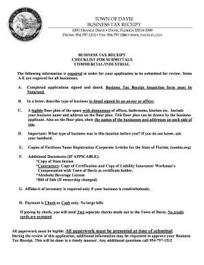 fillable online davie fl commercial business tax receipt