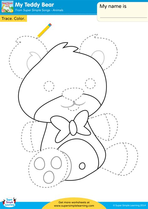 teddy bear worksheet trace color super simple