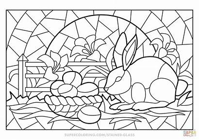 Stained Coloring Glass Easter Pages Scene Printable