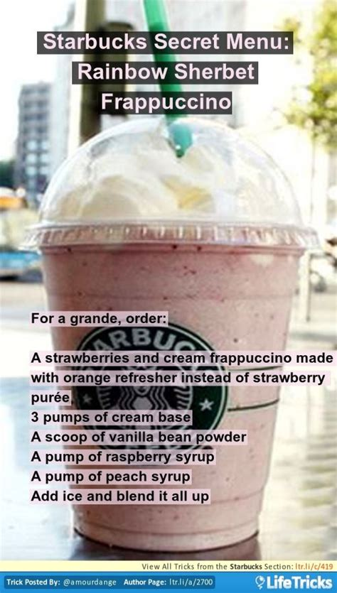 Submitted 11 months ago by greatjothulhu. Starbucks Secret Menu: Rainbow Sherbet Frappuccino | Starbucks secret menu, Starbucks drinks ...