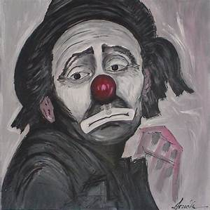 Sad Clown Painting by Maia Oliver
