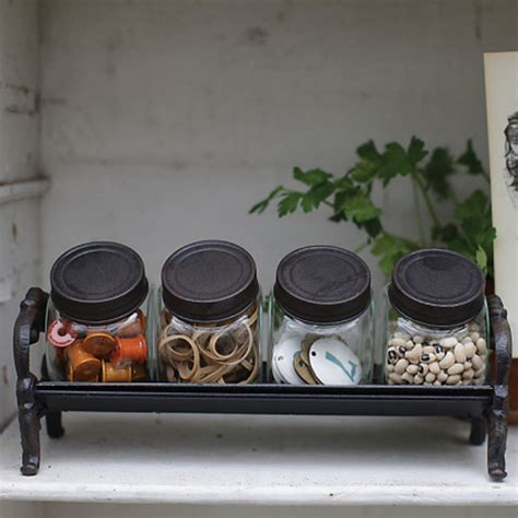 rustic kitchen canisters decorative glass jars with cast iron rack rustic