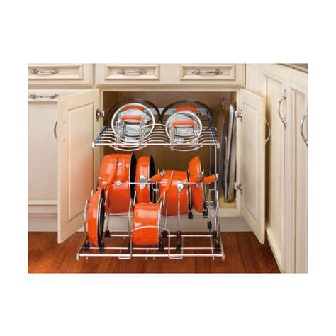 Two Tier Pots, Pans and Lids Organizer for Kitchen Cabinet