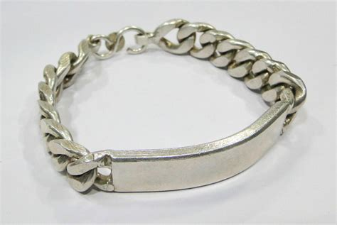 vintage antique  sterling silver link chain bracelet