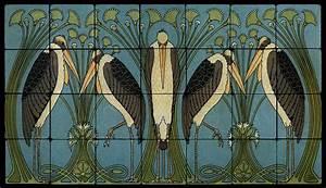 Art Nouveau Cranes Still Life Marble Tile Mural Backsplash