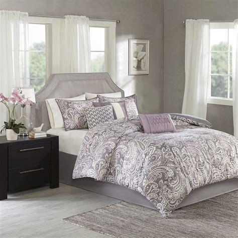 luxury 7pc purple grey paisley print comforter set and