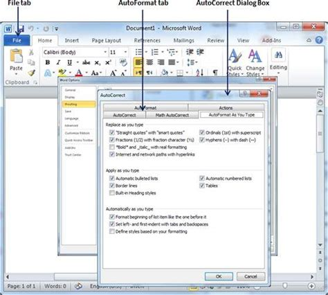 auto formatting in word 2010