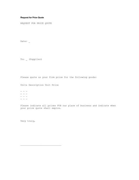 request  price quote letter template letter formate
