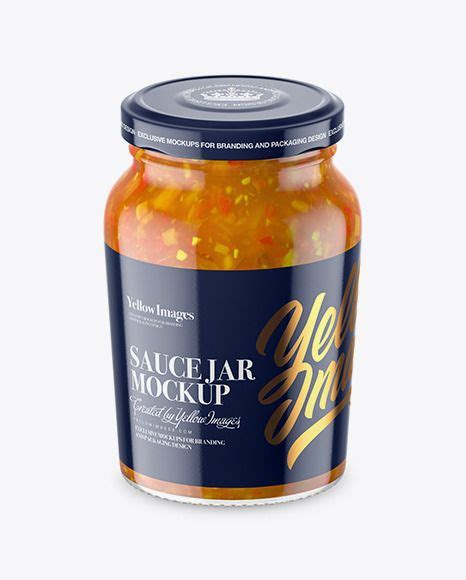 Each bottle is made of glass and can be reused again and again. Clear Glass Jar with Sweet & Sour Sauce Mockup ...