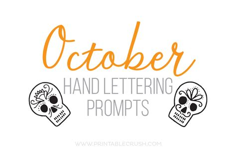 October Hand Lettering Prompts  Printable Crush. Discount Promo Code. Communication Signs. Sam Murals. Free Clipart Signs