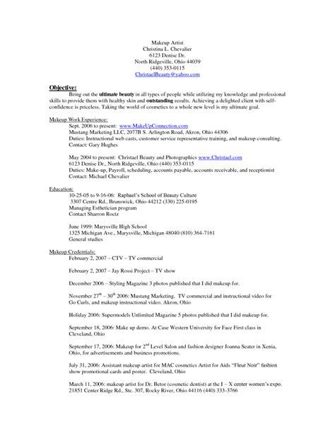 makeup artist resume examples sample resumes sample
