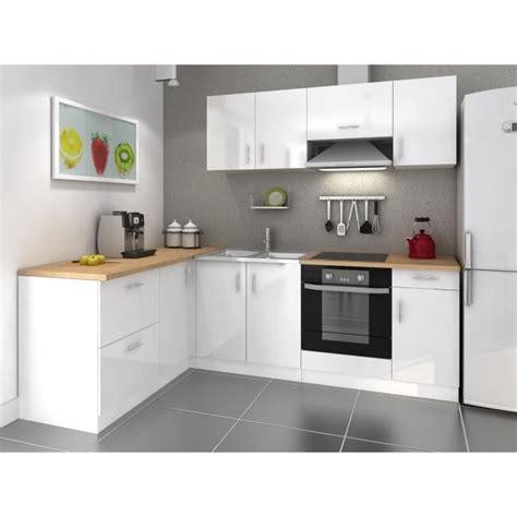 cuisine blanc laque cosy cuisine complète 2m80 laqué blanc achat vente