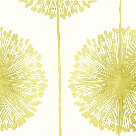 Green And Gold Tree Wallpaper by Muriva Dandelion Floral Wallpaper Lime Green