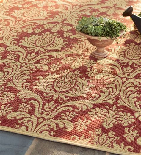 damask polypropylene rug outdoor rug plow hearth