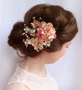 Pink Floral Hair Comb Bridal Hair Accessories Rustic