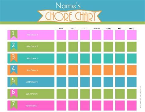 Free Chore Chart Template by Chore Chart Template